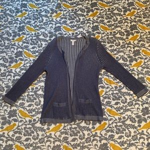 Chico's Blue Grey Ribbed Open Cardigan EUC 0 or S